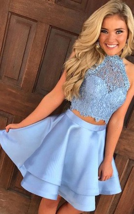 940dba7c74053 A-line Two Piece Halter Sleeveless Lace Ruching Tiers Short Mini Satin Lace  Homecoming Dress ...