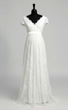 2c25d1feadf Elegant Scalloped V-neck Long Lace Maternity Wedding Dress ...