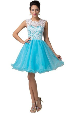 Sleeveless A-line Tulle Dress With Appliqued Bodice