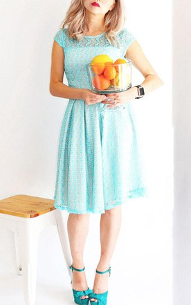 Gossamer Lake Aqua Blue Lace Bridesmaid With Short Cap Sleeves Modest Vintage Inspired Cocktail With Pockets Dress