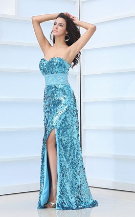 Unique Sweetheart Sleeveless Column Style Dress With Slit