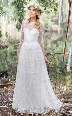 Chiffon Lace Low V Back Wedding Dress