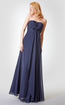 d09ba6d93d7 Backless Ruched A-line Long Chiffon Dress With Draping ...