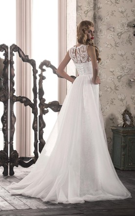 Tulle Lace Dress With Bow Split Front Split Corset Back