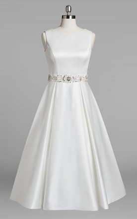 Jewel Neck Sleeveless A-Line Tea-Length Satin Wedding Dress With Beading