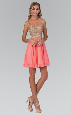 5eafed445 A-Line Short Scoop-Neck Sleeveless Chiffon Illusion Dress With Beading And  Pleats ...