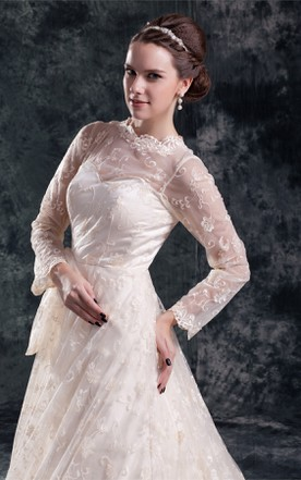 high-neck lace a-line long-sleeve dress with bow and tulle