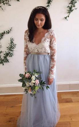 0300a2ce124 ... Deep-V Back Illusion Long Sleeve Appliqued Tulle Dress