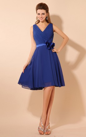 Alluring Midi V-Neck Dress With Flower And Ruching