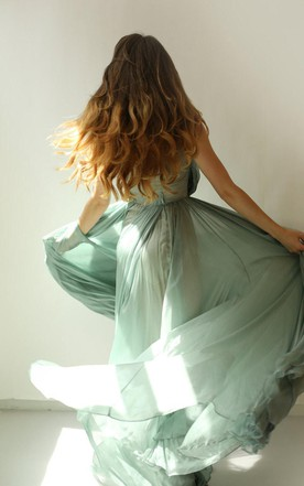Colleen Long Muted Turquoise Green Silk Chiffon Dress