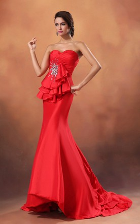 Siren Sweetheart Sleeveless Sexy Gown With Sequins And Back Keyholes