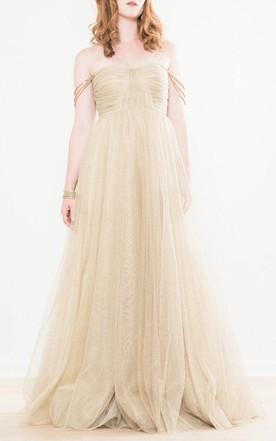 Gold Tulle Wedding Dress