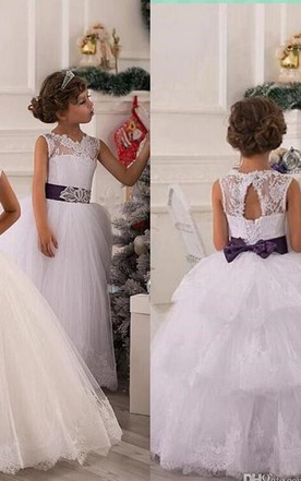 504c778d06c ... Modern Illusion Sleeveless Tulle Flower Girl Dress With Lace Appliques