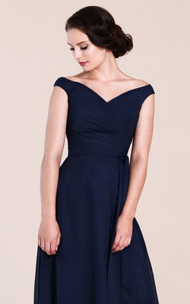 Off-shoulder V-neck A-line Dress With Ruchings