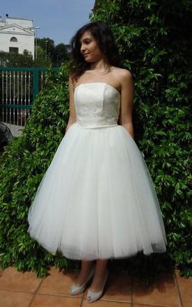 Strapless Tea Length A Line Wedding Dress With Tutu Skirt