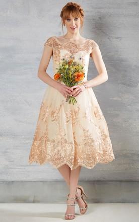Cheap mid length wedding dresses