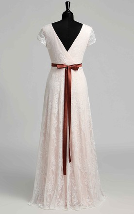 cab1b0a2ab8 ... Short Sleeve V-neck Pleated Long Lace Maternity Wedding Dress