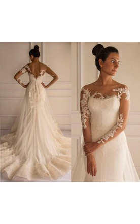 Chic Lace Appliques Mermaid Tulle Wedding Dress 2016 Court Train