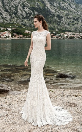 Sheath column style wedding gowns june bridals sheath long jewel neck cap sleeve keyhole lace dress with keyhole junglespirit Choice Image