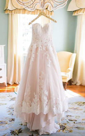 Blushing pink wedding dress june bridals elegant sweetheart high low blush wedding dress with white lace junglespirit Image collections