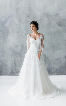 Long Sleeves Empire Bridals Dress, Empire Style Waist Wedding ...