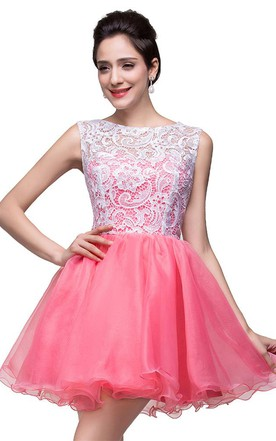 d201d5fa92 Lovely Sleeveless Lace Homecoming Dress Short 2018 ...