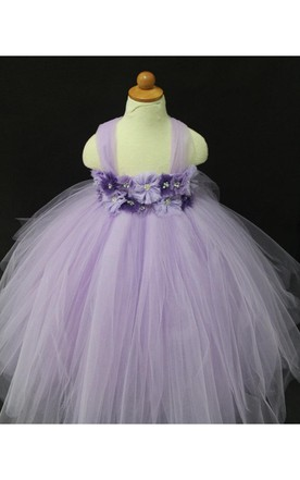 Crystal and Rhinestone Violet and Purple Flower Girl Tutu Dress