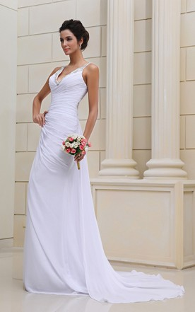Flaterring Deep Strapless Gown With Se Sequins