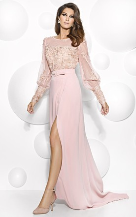 b5ce5eedb01d6 Maxi Puff-Sleeve Scoop-Neck Appliqued Jersey Mother Of The Bride Dress With  Split