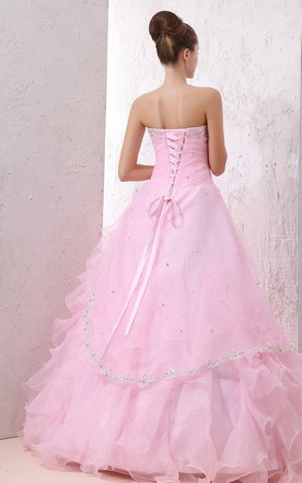 Blushing Sweetheart Sleeveless Ball Gown With Beaded Top And Ruffles