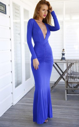 Modern V-neck Long Sleeve Mermaid Prom Dress Open Back