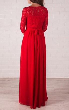 Bridesmaid Red Long Formal Lace Prom Gown Wedding Dress