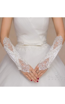 Long White Sequined Beaded Gloves