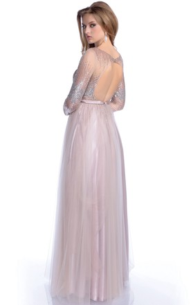 a2b37a193752 ... Sequined Bodice A-Line Tulle Prom Dress With Keyhole Back And Long  Sleeve