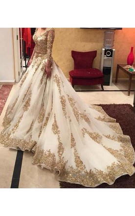 Glamorous Lace Appliques Beadings Wedding Dress 2016 Long Sleeve Long Train