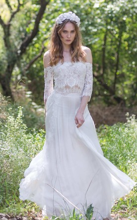 5fe67832099 Off-the-shoulder Lace Chiffon Boho Wedding Dress With Corset Back ...