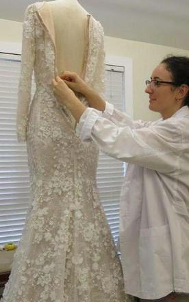 dd1d403d9 ... Vintage Long Sleeve 3D-floral Appliques Crystal Mermaid Wedding Dress