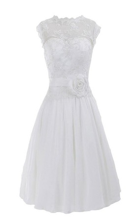 Sleeveless High Neck Appliqued Beaded Knee-length Chiffon Dress