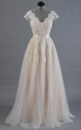 Cap Sleeve V Neck Lace Wedding Dress With Tulle Skirt And Back