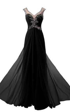 Cap-sleeved Long Gown With Beaded Illusion Style