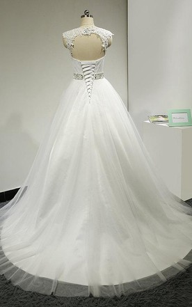 Ball Gown Cap Sleeve Backless Tulle Lace Satin Dress With Beading