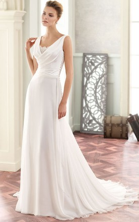 Maxi V Neck Liqued Chiffon Wedding Dress With Sweep Train And Back