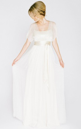 Unique non white wedding dresses colored wedding dresses june bridals square floor length chiffon wedding dress with beading and illusion junglespirit Images