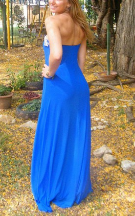Strapless Long Elegant Gown Blue Long Evening Maxi Sexy Strapless Cocktail Prom Gown Dress