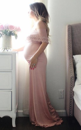 Maternity Gown Fitted Off The Shoulder Dusty Pink Lace Wrap Dress
