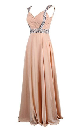 Cap-sleeved Chiffon Gown With Beaded Shoulders