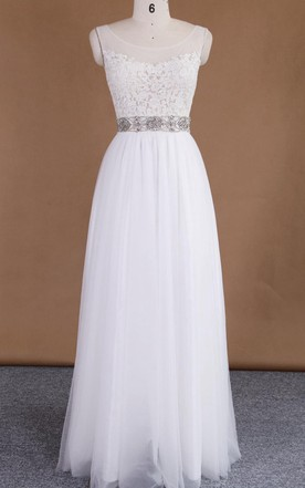 Scoop Sleeveless Sleeve Tulle Lace Satin Dress With Beading Illusion