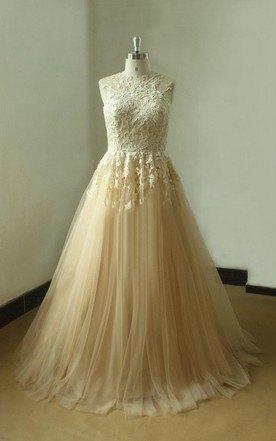 Tulle High Collar Appliqued Wedding Gown With Pleats