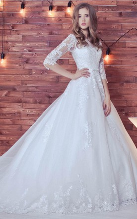 Wedding gowns with sleeves sleeved bridal dresses june bridals ball gown long sleeve tulle lace wedding dress junglespirit Gallery