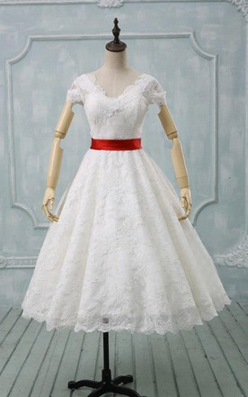 Scalloped Tea-Length Wedding Dress With Sash And Cap Sleeve
